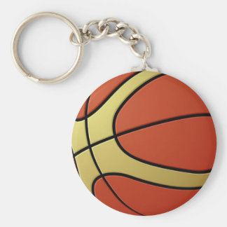 basketball-ball basic round button key ring