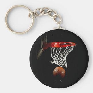 Basketball Ball & Net Basic Round Button Key Ring