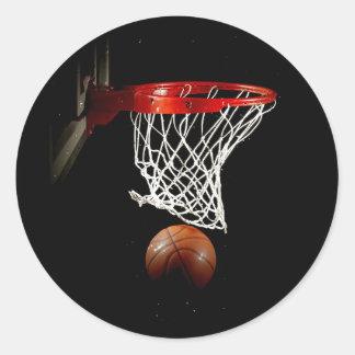 Basketball Ball & Net Round Sticker