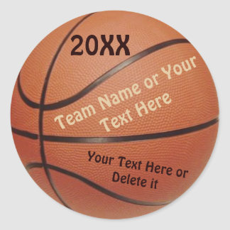 Basketball Ball Stickers Type YEAR TEAM Message