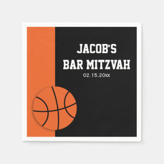 Basketball Bar Mitzvah Personalized Disposable Napkin