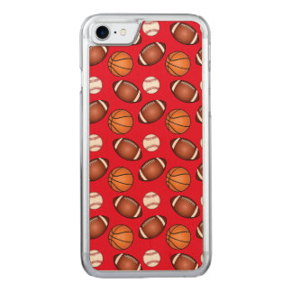 Basketball, Baseball and Football Love Carved iPhone 7 Case