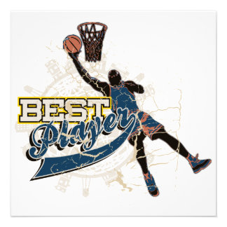 Basketball Best Player Blue T-shirts and Gifts Invitations