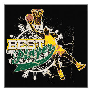 Basketball Best Player Green and Gold Personalized Announcements