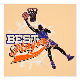 Basketball Best Player Orange and Blue T-shirts Invite