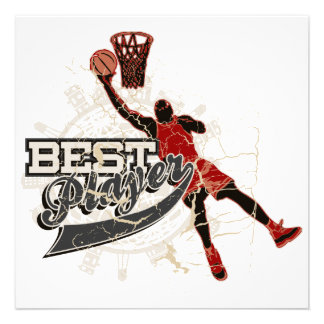 Basketball Best Player Red and Gray Custom Invites