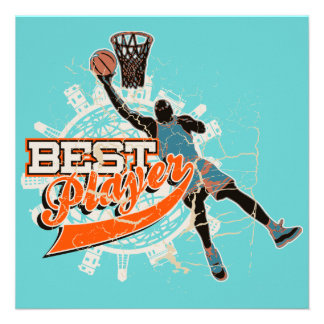 Basketball Best Player Teal and Orange Personalized Invitations