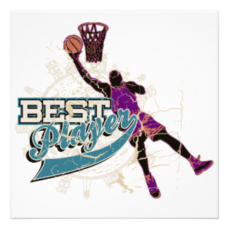 Basketball Best Player Teal and Purple Custom Invitation