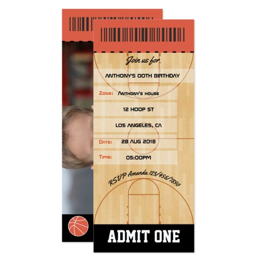 Basketball Birthday Party add photo Ticket Card