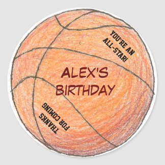 Basketball birthday party favor label