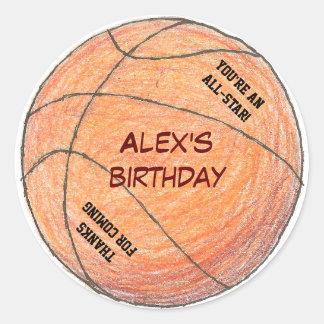 Basketball birthday party favor label round sticker