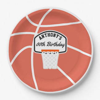 Basketball Birthday Party personalized Paper Plate