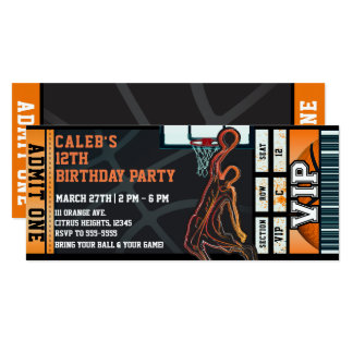 Basketball Birthday Party VIP Ball Game Ticket Card