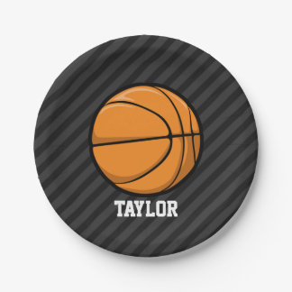 Basketball; Black & Dark Gray Stripes Paper Plate