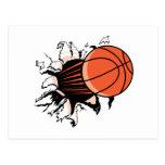 basketball breaking through powerful