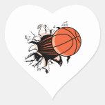 basketball breaking through powerful heart sticker