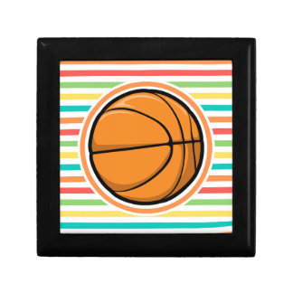 Basketball Bright Rainbow Stripes Keepsake Boxes