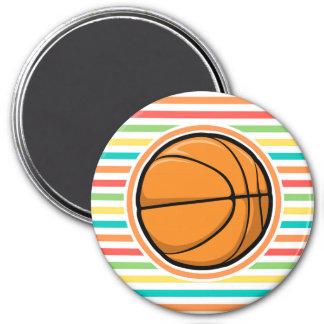 Basketball Bright Rainbow Stripes Fridge Magnet