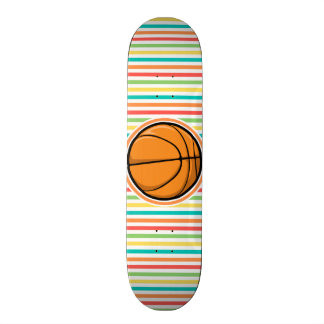 Basketball; Bright Rainbow Stripes Skateboard Deck