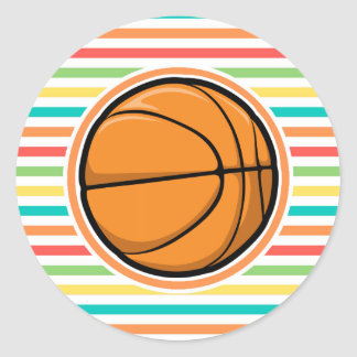Basketball Bright Rainbow Stripes Stickers