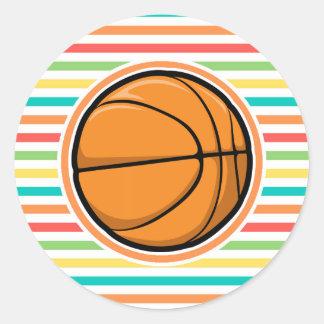 Basketball Bright Rainbow Stripes Stickers