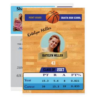 Basketball Card W/ Stats Grad Invitations - blue