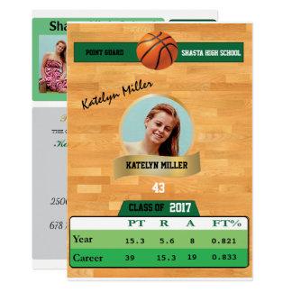 Basketball Card W/ Stats Grad Invitations - green
