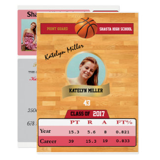 Basketball Card W/ Stats Grad Invitations - red