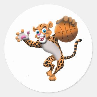basketball cat round sticker