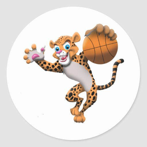 basketball cat round stickers