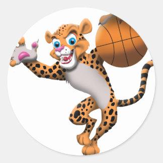 basketball cat round stickers