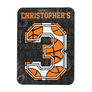 Basketball Chalkboard 3rd Birthday Rectangular Photo Magnet