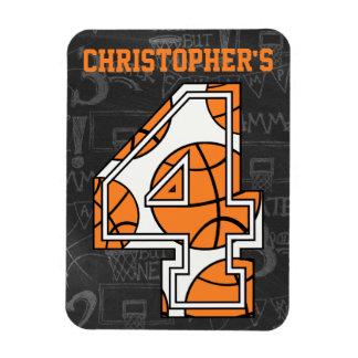 Basketball Chalkboard 4th Birthday Rectangle Magnets