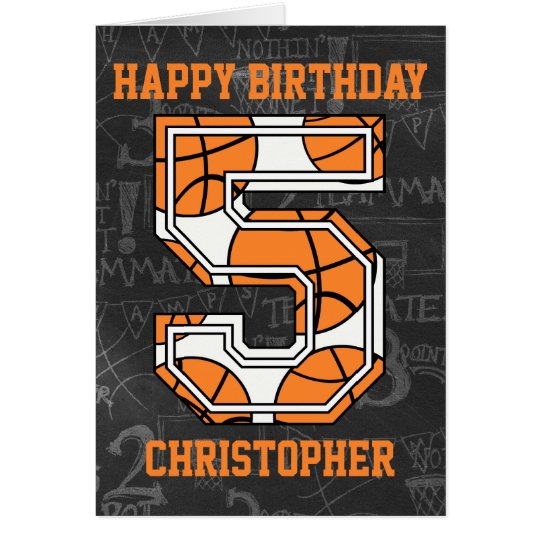 Basketball Chalkboard 5th Birthday Card