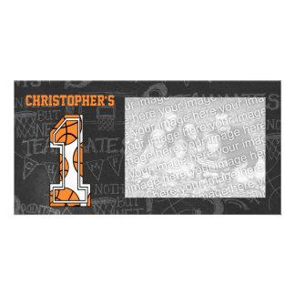 Basketball Chalkboard Photo 1st Birthday Photo Card Template