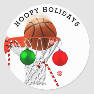 basketball Christmas Classic Round Sticker
