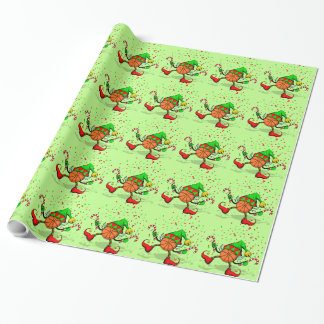 Basketball Christmas Elf with Confetti Wrapping Paper