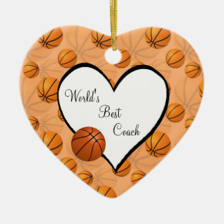 Basketball Christmas Heart Ornament