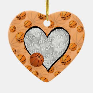 Basketball Christmas Heart Photo Ornament