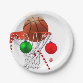 basketball Christmas Paper Plate