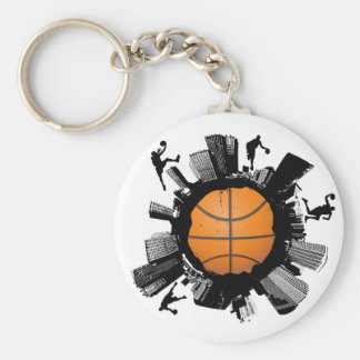 Basketball City Basic Round Button Key Ring