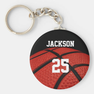 Basketball Close-up custom Name and number Basic Round Button Key Ring