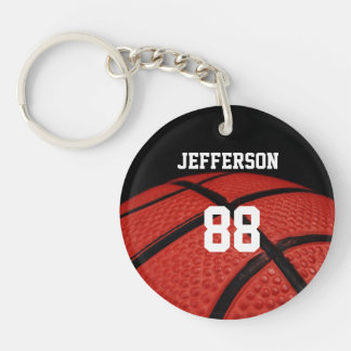 Basketball Close-up custom Name and number Double-Sided Round Acrylic Key Ring