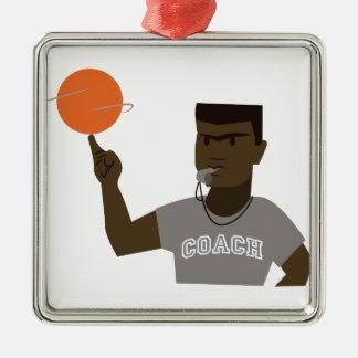 Basketball Coach Silver-Colored Square Decoration