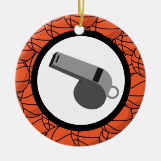 Basketball Coach Gift Double-Sided Ceramic Round Christmas Ornament