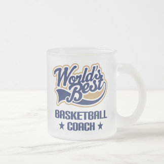 Basketball Coach Gift (Worlds Best) Frosted Glass Coffee Mug