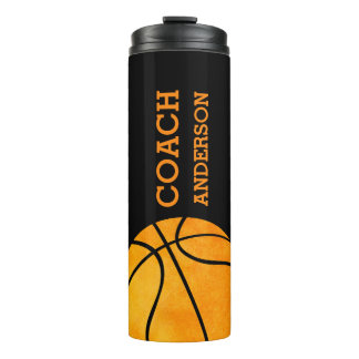 Basketball Coach Personalized Trendy Modern Orange Thermal Tumbler