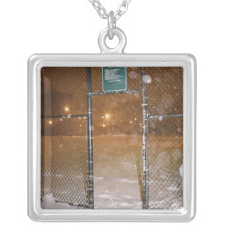 Basketball Court in Snow Silver Plated Necklace