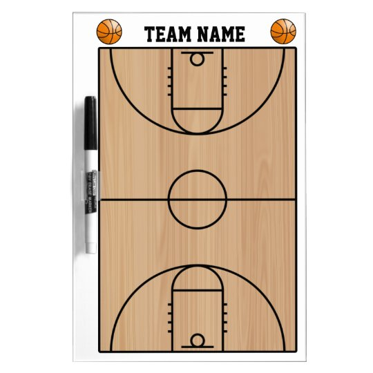 Basketball Court Layout On Wood Dry Erase Board