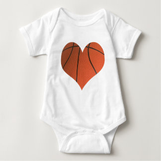 Basketball Cut Out Shaped As A Heart Baby Bodysuit